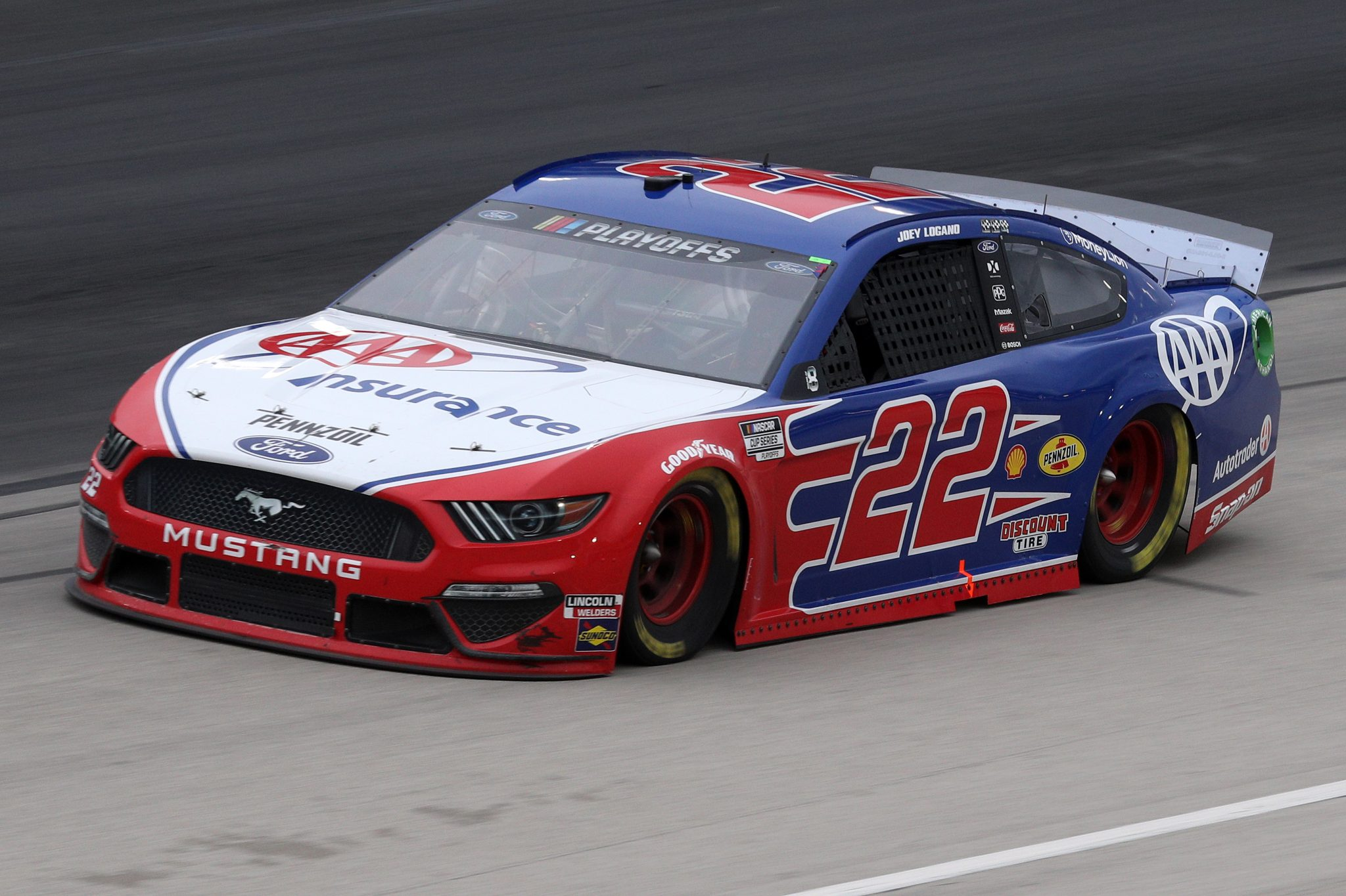 FORT WORTH, TEXAS - OCTOBER 28: Joey Logano, driver of the #22 AAA Insurance Ford, drives during the NASCAR Cup Series Autotrader EchoPark Automotive 500 at Texas Motor Speedway on October 28, 2020 in Fort Worth, Texas. (Photo by Chris Graythen/Getty Images) | Getty Images