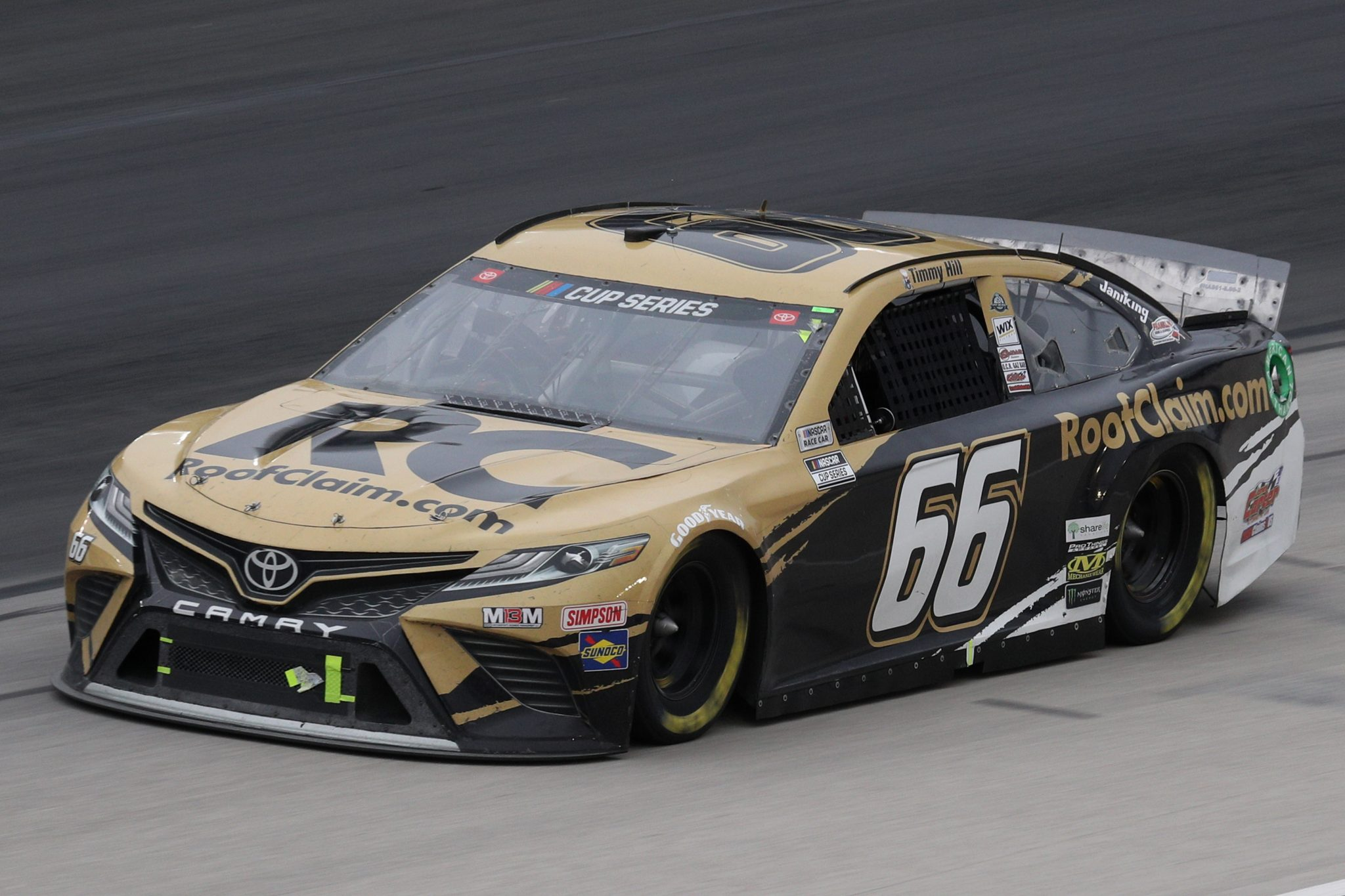 FORT WORTH, TEXAS - OCTOBER 28: Timmy Hill, driver of the #66 RoofClaim.com Toyota, drives during the NASCAR Cup Series Autotrader EchoPark Automotive 500 at Texas Motor Speedway on October 28, 2020 in Fort Worth, Texas. (Photo by Chris Graythen/Getty Images) | Getty Images