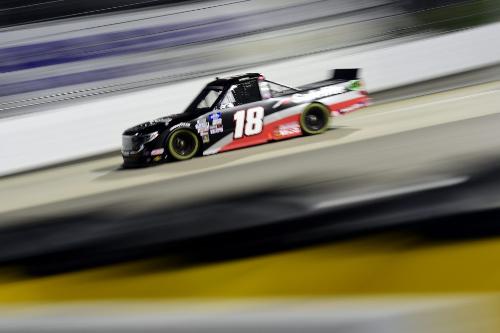 MARTINSVILLE, VIRGINIA - OCTOBER 30: Christian Eckes, driver of the #18 Safelite AutoGlass Toyota, drives during the NASCAR Gander RV & Outdoors Truck Series NASCAR Hall of Fame 200 at Martinsville Speedway on October 30, 2020 in Martinsville, Virginia. (Photo by Jared C. Tilton/Getty Images) | Getty Images