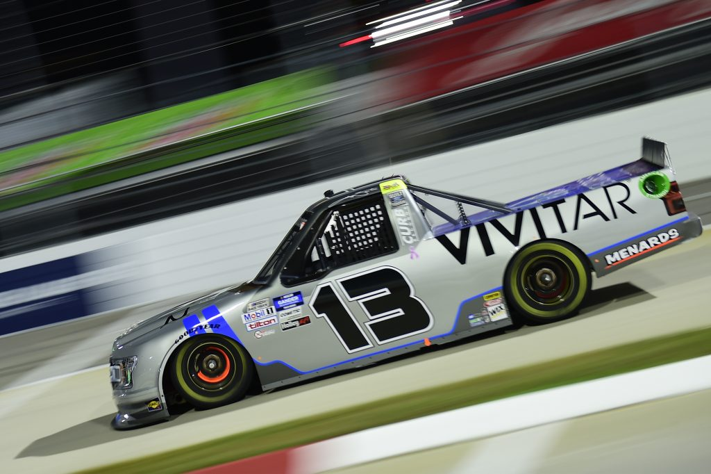 MARTINSVILLE, VIRGINIA - OCTOBER 30: Johnny Sauter, driver of the #13 Vivitar Ford, drives during the NASCAR Gander RV & Outdoors Truck Series NASCAR Hall of Fame 200 at Martinsville Speedway on October 30, 2020 in Martinsville, Virginia. (Photo by Jared C. Tilton/Getty Images) | Getty Images