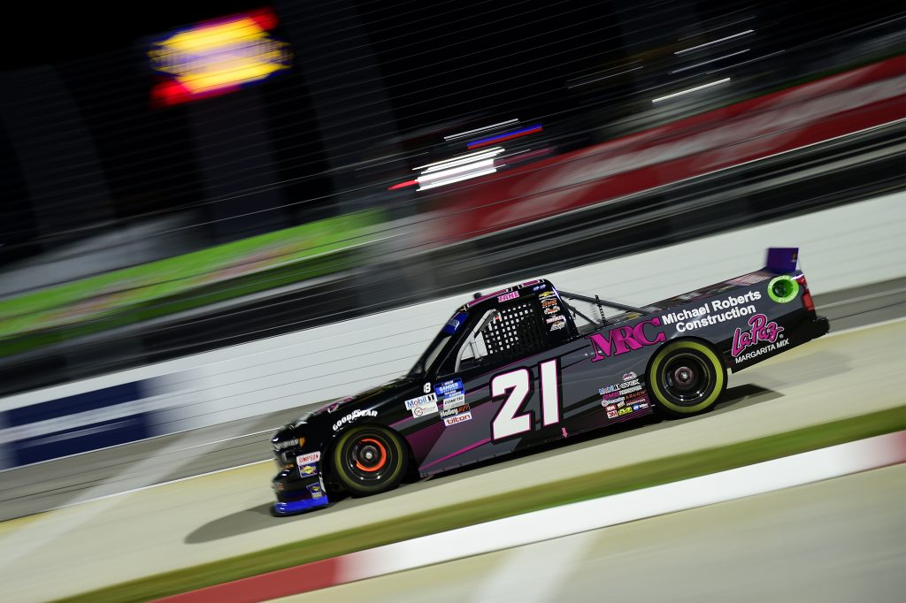 MARTINSVILLE, VIRGINIA - OCTOBER 30: Zane Smith, driver of the #21 LaPaz/MRC Chevrolet, drives during the NASCAR Gander RV & Outdoors Truck Series NASCAR Hall of Fame 200 at Martinsville Speedway on October 30, 2020 in Martinsville, Virginia. (Photo by Jared C. Tilton/Getty Images) | Getty Images