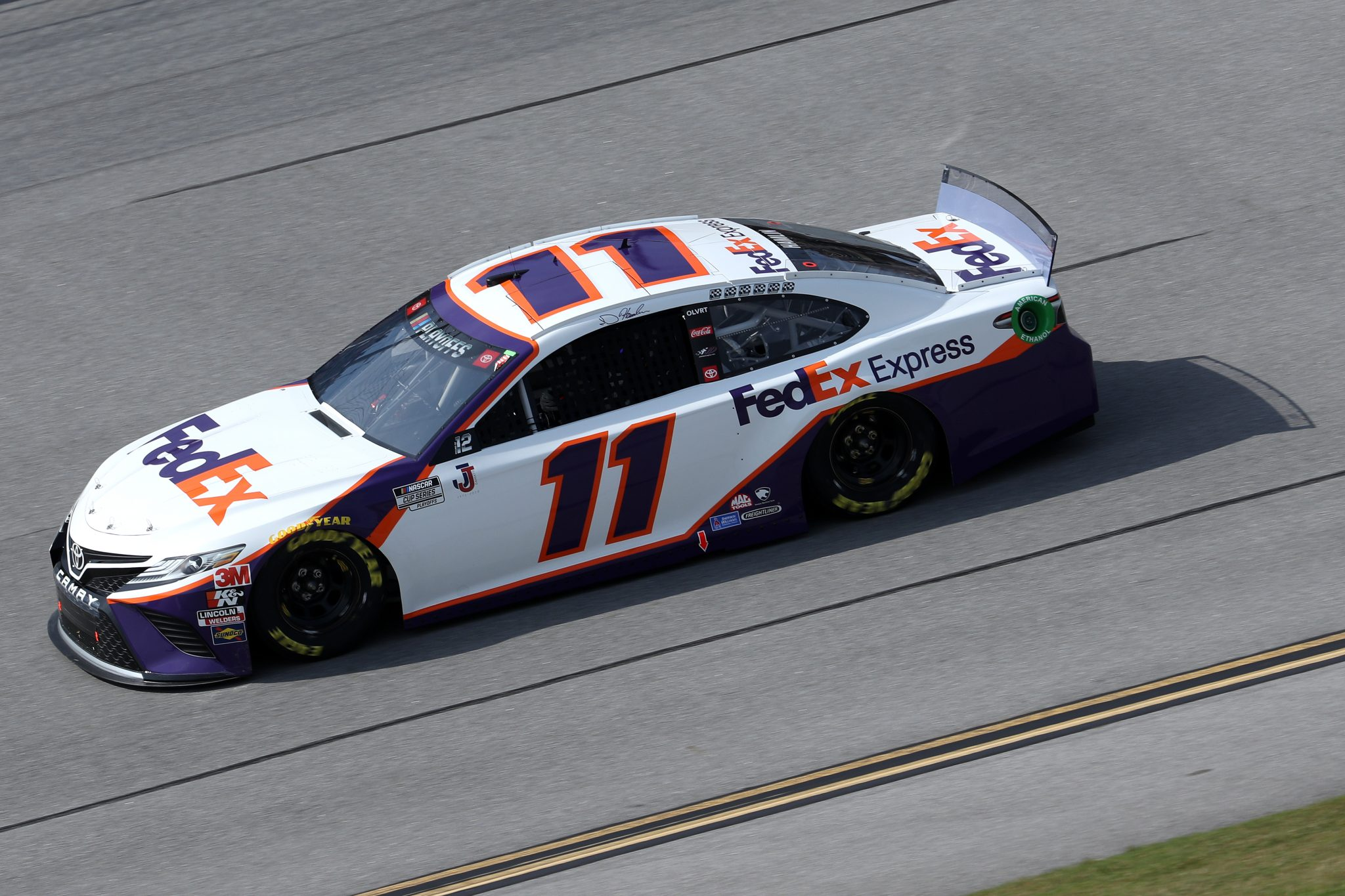 TALLADEGA, ALABAMA - OCTOBER 04: Denny Hamlin, driver of the #11 FedEx Express Toyota, drives during the NASCAR Cup Series YellaWood 500 at Talladega Superspeedway on October 04, 2020 in Talladega, Alabama. (Photo by Chris Graythen/Getty Images) | Getty Images