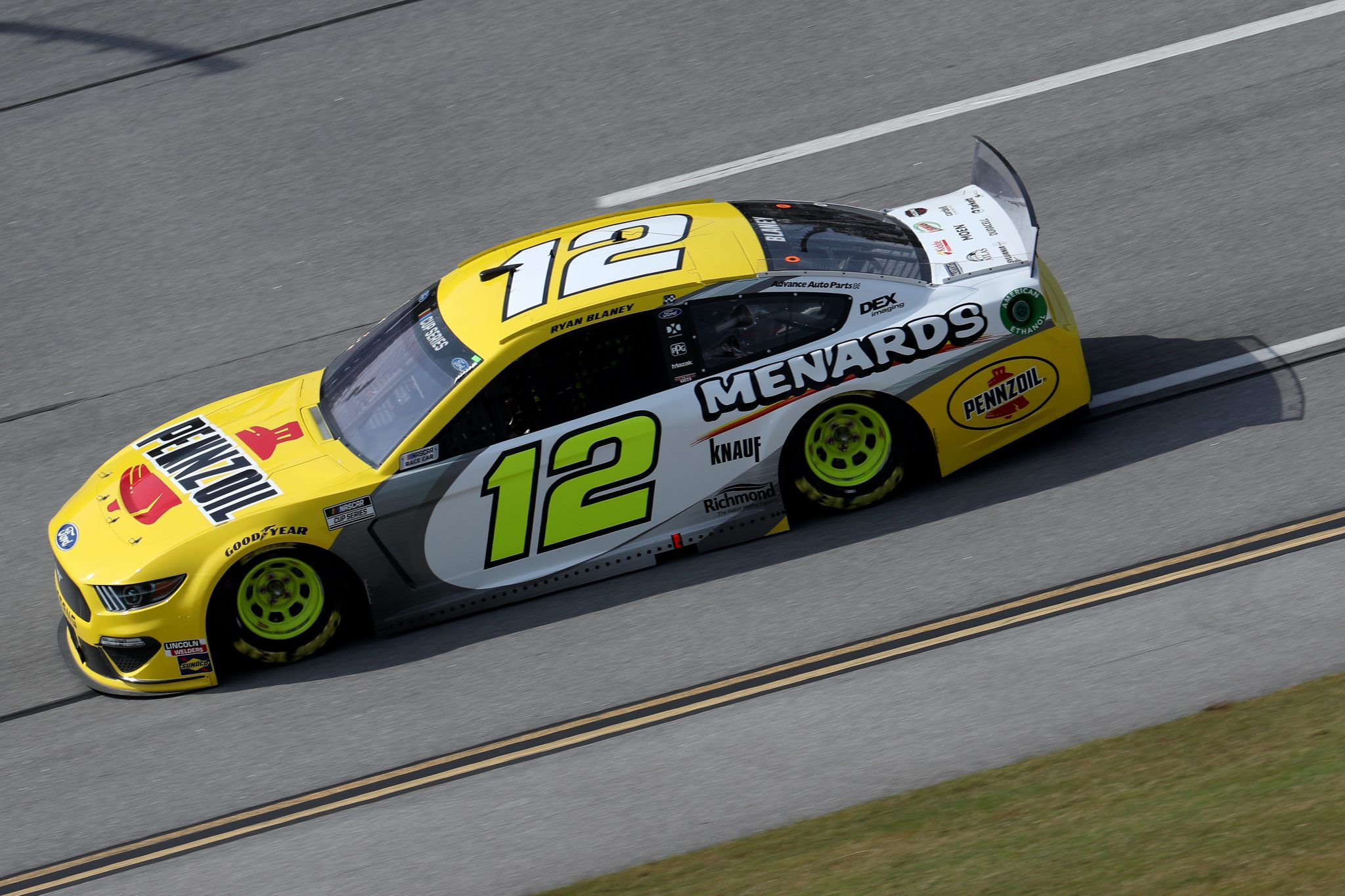 TALLADEGA, ALABAMA - OCTOBER 04: Ryan Blaney, driver of the #12 Menards/Pennzoil Ford, drives during the NASCAR Cup Series YellaWood 500 at Talladega Superspeedway on October 04, 2020 in Talladega, Alabama. (Photo by Chris Graythen/Getty Images) | Getty Images