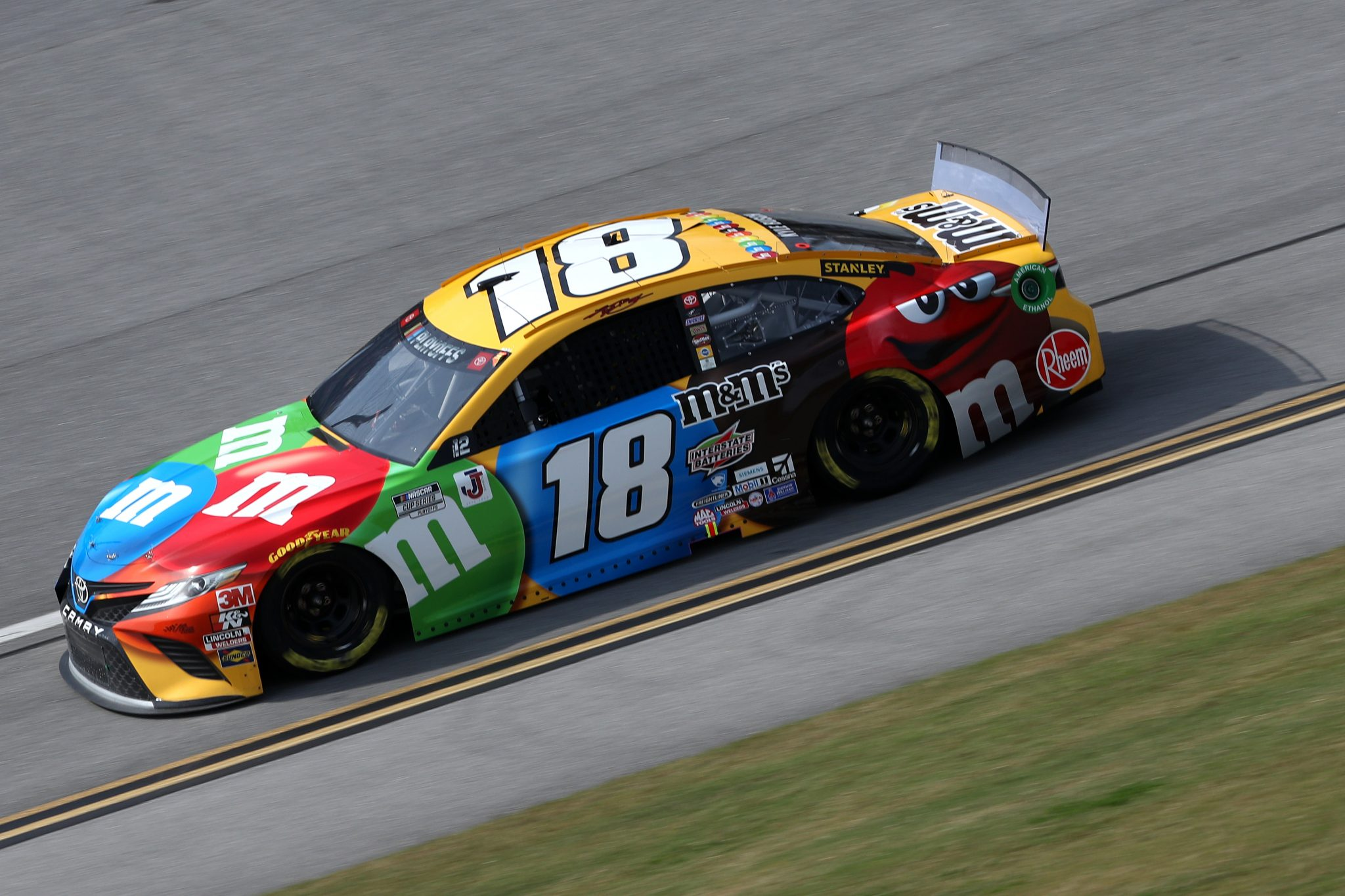 TALLADEGA, ALABAMA - OCTOBER 04: Kyle Busch, driver of the #18 M&M's Toyota, drives during the NASCAR Cup Series YellaWood 500 at Talladega Superspeedway on October 04, 2020 in Talladega, Alabama. (Photo by Chris Graythen/Getty Images) | Getty Images