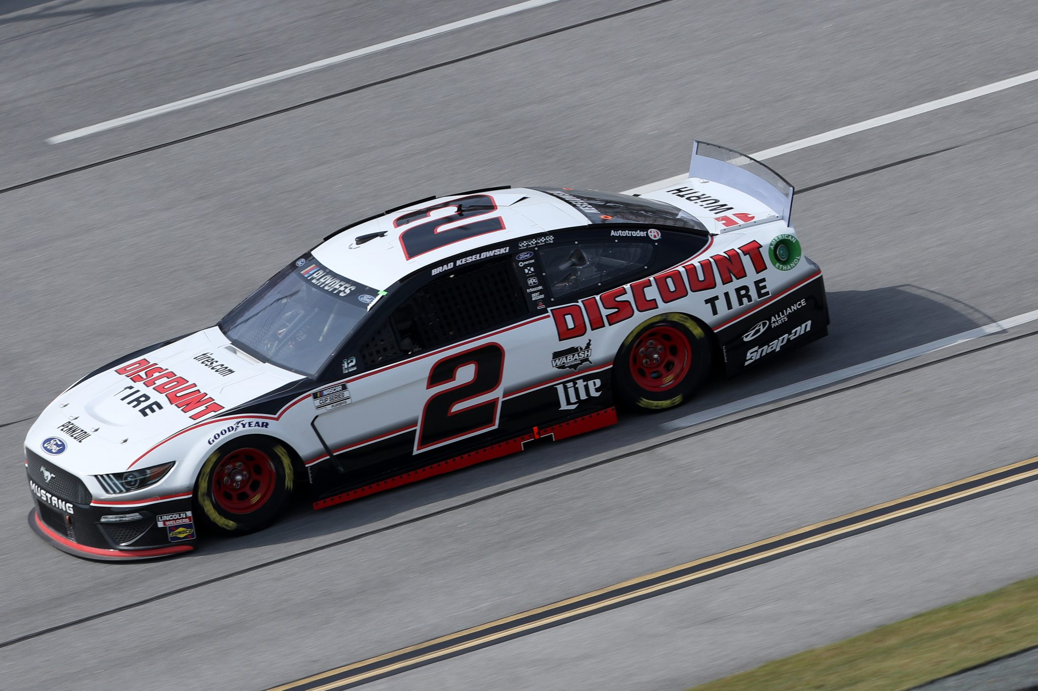 TALLADEGA, ALABAMA - OCTOBER 04: Brad Keselowski, driver of the #2 Discount Tire Ford, drives during the NASCAR Cup Series YellaWood 500 at Talladega Superspeedway on October 04, 2020 in Talladega, Alabama. (Photo by Chris Graythen/Getty Images) | Getty Images