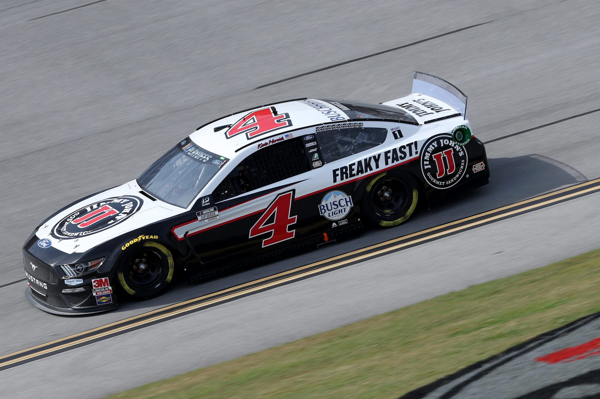 TALLADEGA, ALABAMA - OCTOBER 04: Kevin Harvick, driver of the #4 Jimmy John's Ford, drives during the NASCAR Cup Series YellaWood 500 at Talladega Superspeedway on October 04, 2020 in Talladega, Alabama. (Photo by Chris Graythen/Getty Images) | Getty Images