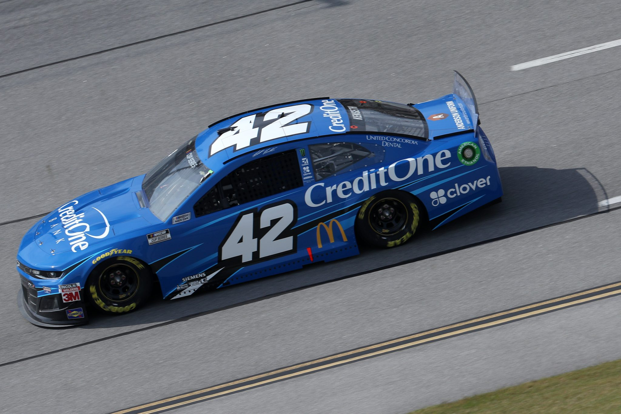 TALLADEGA, ALABAMA - OCTOBER 04: Matt Kenseth, driver of the #42 Credit One Bank Chevrolet, drives during the NASCAR Cup Series YellaWood 500 at Talladega Superspeedway on October 04, 2020 in Talladega, Alabama. (Photo by Chris Graythen/Getty Images) | Getty Images
