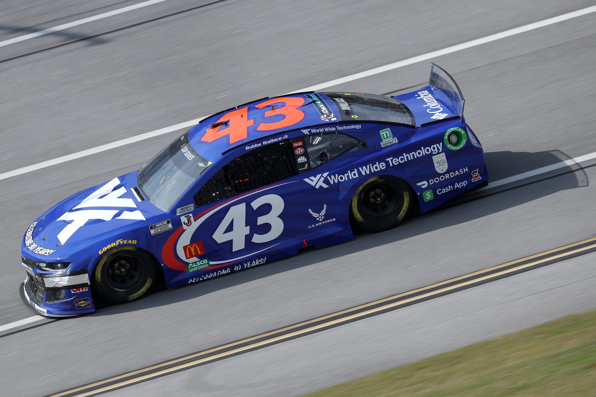 TALLADEGA, ALABAMA - OCTOBER 04: Bubba Wallace, driver of the #43 World Wide Technology Chevrolet, drives during the NASCAR Cup Series YellaWood 500 at Talladega Superspeedway on October 04, 2020 in Talladega, Alabama. (Photo by Chris Graythen/Getty Images) | Getty Images