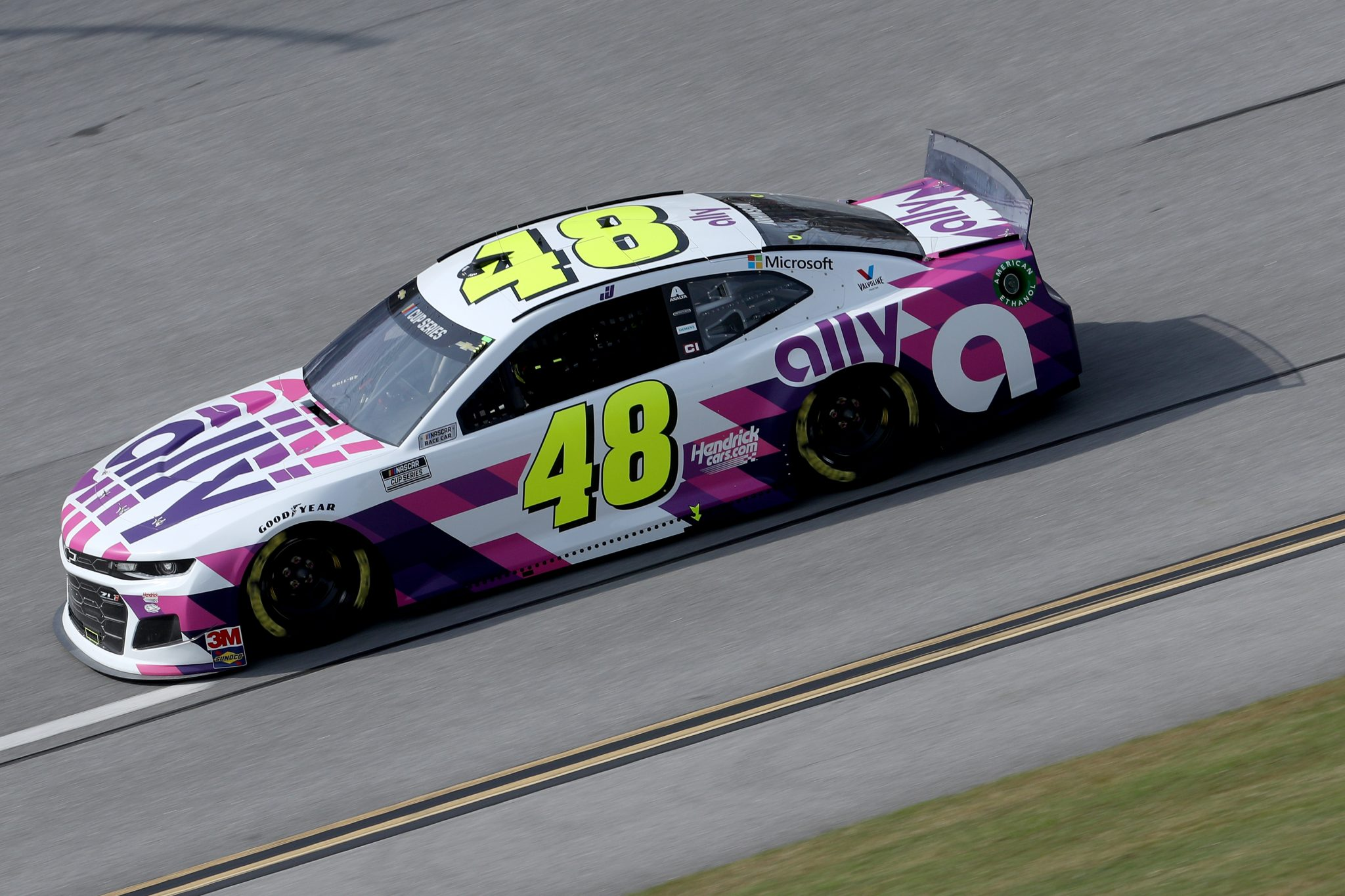 TALLADEGA, ALABAMA - OCTOBER 04: Jimmie Johnson, driver of the #48 Ally Chevrolet, drives during the NASCAR Cup Series YellaWood 500 at Talladega Superspeedway on October 04, 2020 in Talladega, Alabama. (Photo by Chris Graythen/Getty Images) | Getty Images