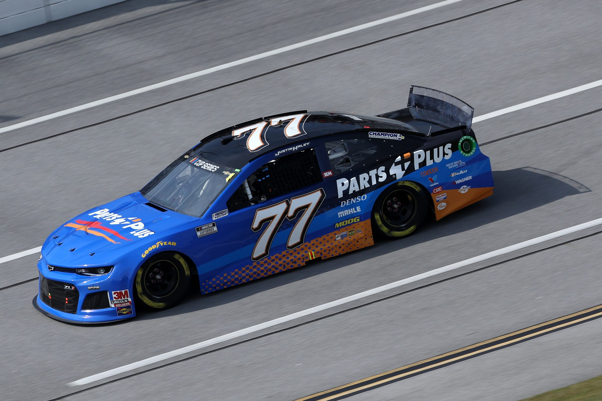 TALLADEGA, ALABAMA - OCTOBER 04: Justin Haley, driver of the #77 Parts Plus Chevrolet, drives during the NASCAR Cup Series YellaWood 500 at Talladega Superspeedway on October 04, 2020 in Talladega, Alabama. (Photo by Chris Graythen/Getty Images) | Getty Images