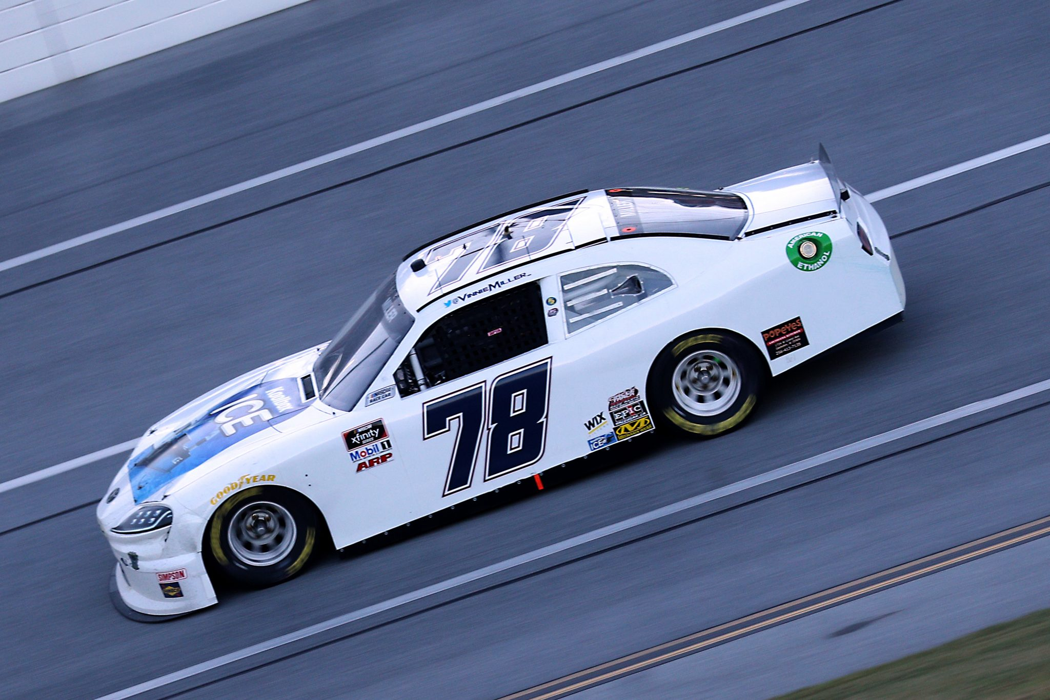 TALLADEGA, ALABAMA - OCTOBER 03: Vinnie Miller, driver of the #78 Koolbox Ice Toyota, drives during the NASCAR Xfinity Series Ag-Pro 300 at Talladega Superspeedway on October 03, 2020 in Talladega, Alabama. (Photo by Chris Graythen/Getty Images) | Getty Images