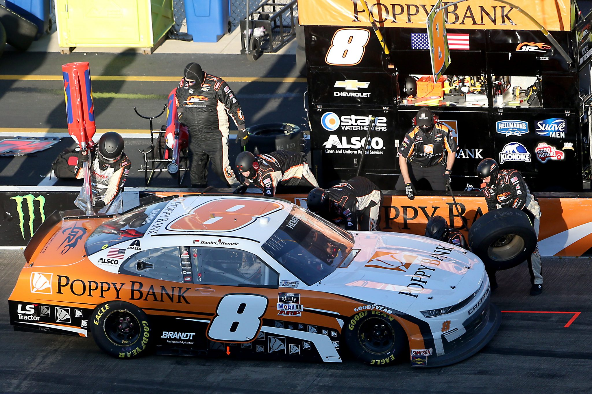 TALLADEGA, ALABAMA - OCTOBER 03: Daniel Hemric, driver of the #8 Poppy Bank Chevrolet, pits during the NASCAR Xfinity Series Ag-Pro 300 at Talladega Superspeedway on October 03, 2020 in Talladega, Alabama. (Photo by Brian Lawdermilk/Getty Images) | Getty Images
