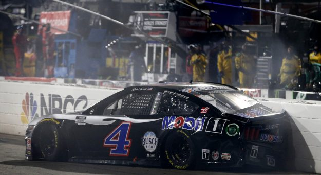 MARTINSVILLE, VIRGINIA - NOVEMBER 01: Kevin Harvick, driver of the #4 Mobil 1 Ford, hits the wall after an on-track incident on the last lap of the NASCAR Cup Series Xfinity 500 at Martinsville Speedway on November 01, 2020 in Martinsville, Virginia. (Photo by Brian Lawdermilk/Getty Images) | Getty Images