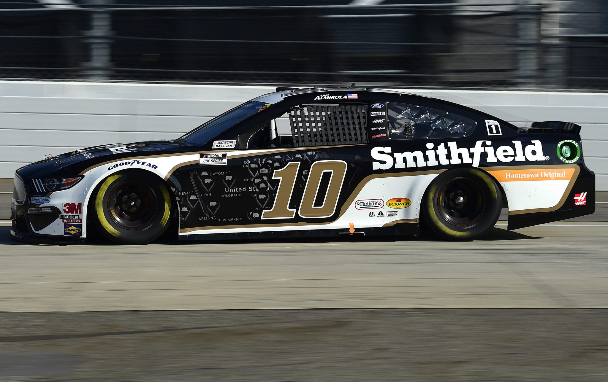MARTINSVILLE, VIRGINIA - NOVEMBER 01: Aric Almirola, driver of the #10 Smithfield Hometown Original Ford, drives during the NASCAR Cup Series Xfinity 500 at Martinsville Speedway on November 01, 2020 in Martinsville, Virginia. (Photo by Jared C. Tilton/Getty Images) | Getty Images