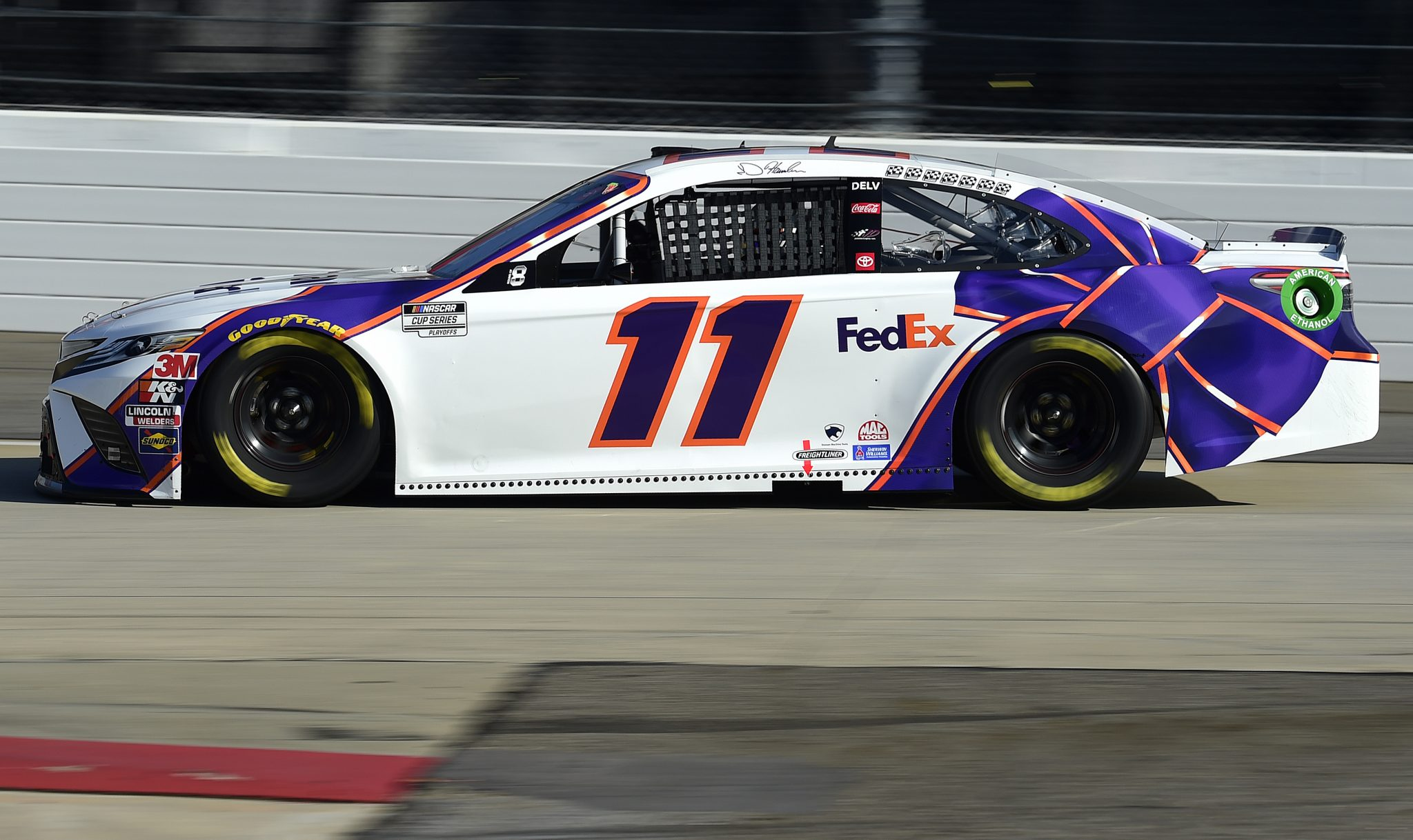 MARTINSVILLE, VIRGINIA - NOVEMBER 01: Denny Hamlin, driver of the #11 FedEx Ground Toyota, dduring the NASCAR Cup Series Xfinity 500 at Martinsville Speedway on November 01, 2020 in Martinsville, Virginia. (Photo by Jared C. Tilton/Getty Images) | Getty Images