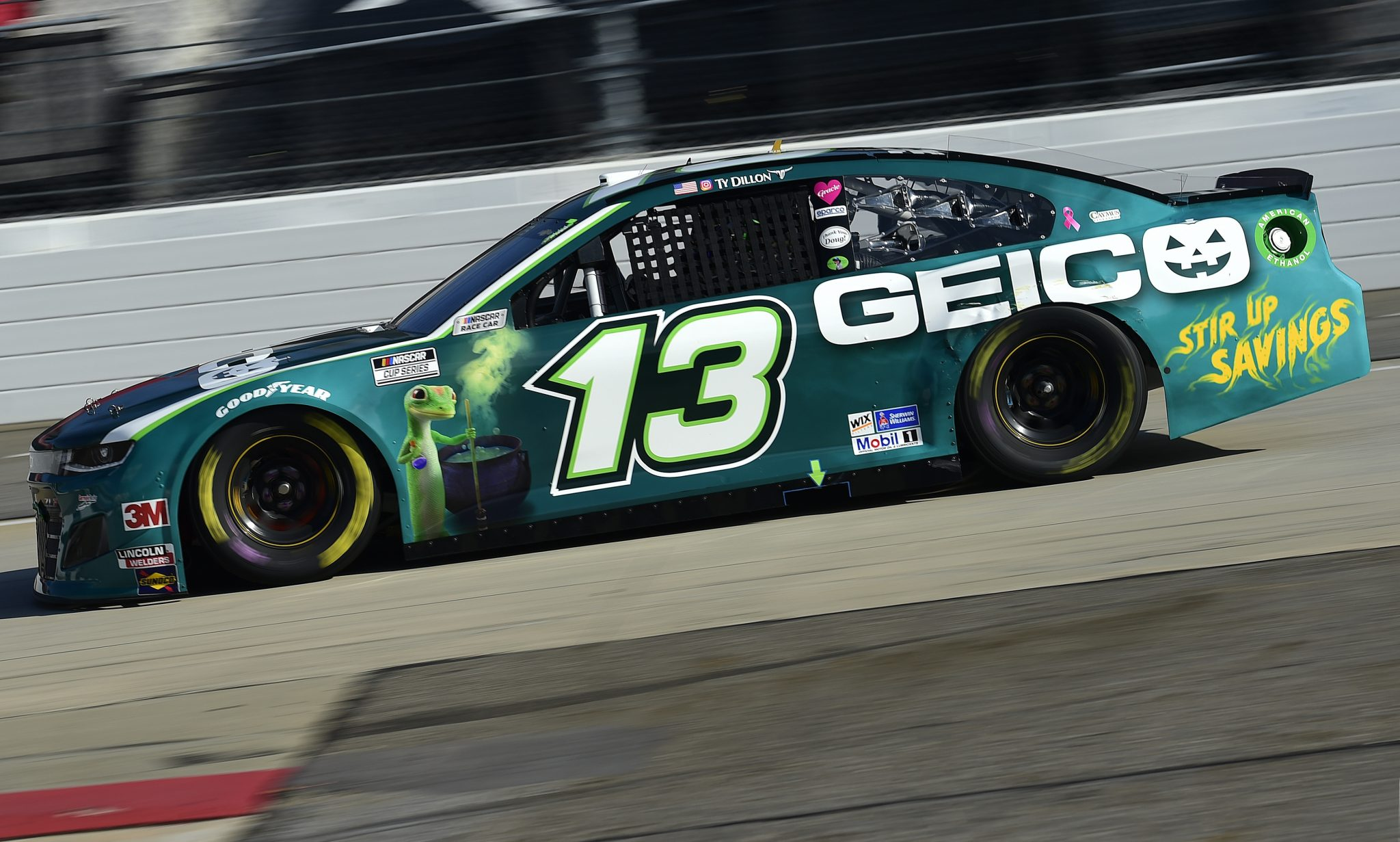 MARTINSVILLE, VIRGINIA - NOVEMBER 01: Ty Dillon, driver of the #13 GEICOween Chevrolet, drives during the NASCAR Cup Series Xfinity 500 at Martinsville Speedway on November 01, 2020 in Martinsville, Virginia. (Photo by Jared C. Tilton/Getty Images) | Getty Images
