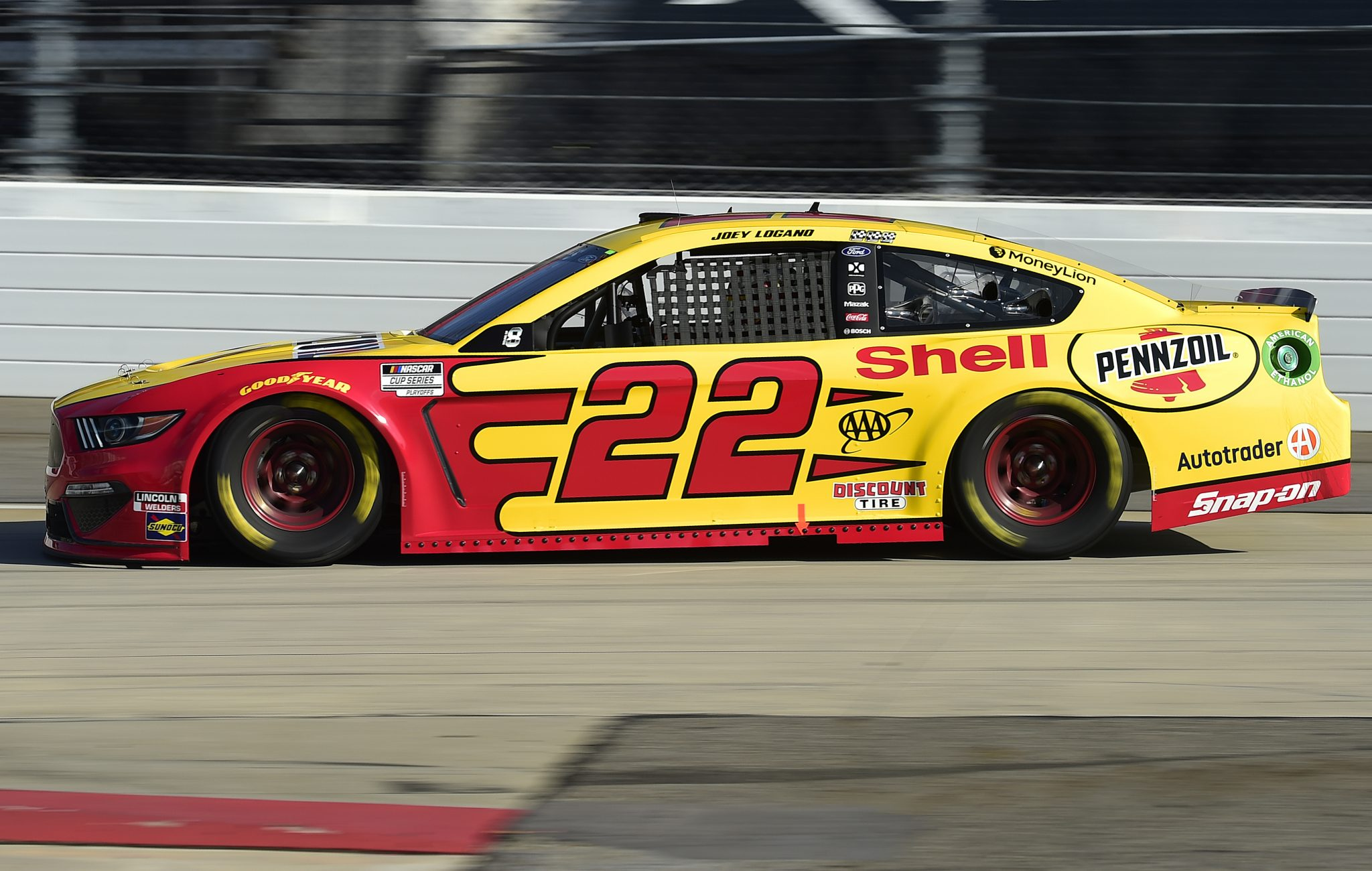 MARTINSVILLE, VIRGINIA - NOVEMBER 01: Joey Logano, driver of the #22 Shell Pennzoil Ford, drives during the NASCAR Cup Series Xfinity 500 at Martinsville Speedway on November 01, 2020 in Martinsville, Virginia. (Photo by Jared C. Tilton/Getty Images) | Getty Images