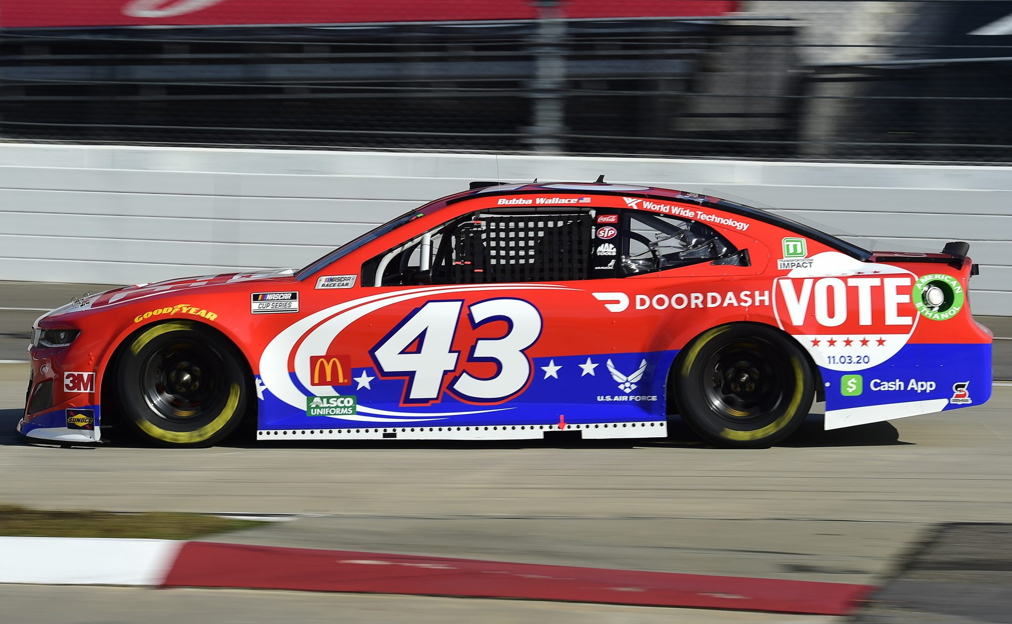 MARTINSVILLE, VIRGINIA - NOVEMBER 01: Bubba Wallace, driver of the #43 DoorDash Chevrolet, drives during the NASCAR Cup Series Xfinity 500 at Martinsville Speedway on November 01, 2020 in Martinsville, Virginia. (Photo by Jared C. Tilton/Getty Images) | Getty Images