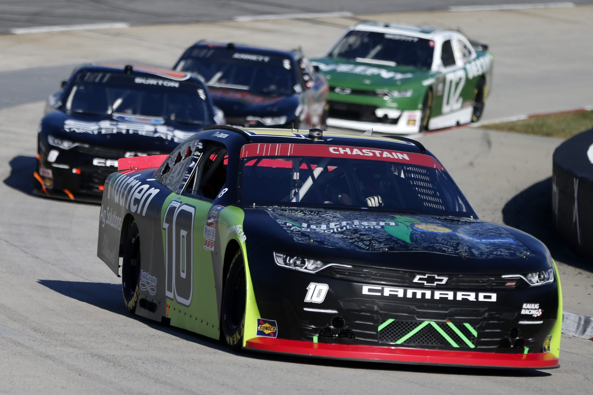 MARTINSVILLE, VIRGINIA - OCTOBER 31: Ross Chastain, driver of the #10 Nutrien Ag Solutions Chevrolet, leads the field during the NASCAR Xfinity Series Draft Top 250 at Martinsville Speedway on October 31, 2020 in Martinsville, Virginia. (Photo by Brian Lawdermilk/Getty Images) | Getty Images