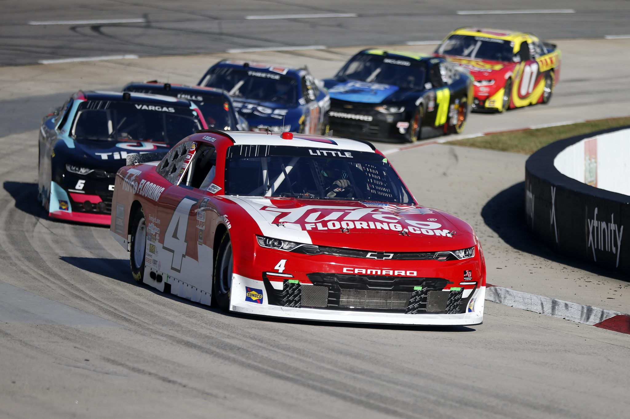 MARTINSVILLE, VIRGINIA - OCTOBER 31: Jesse Little, driver of the #4 Tufco Flooring Chevrolet, leads the field during the NASCAR Xfinity Series Draft Top 250 at Martinsville Speedway on October 31, 2020 in Martinsville, Virginia. (Photo by Brian Lawdermilk/Getty Images) | Getty Images