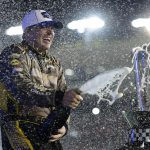 AVONDALE, ARIZONA - NOVEMBER 06: Sheldon Creed, driver of the #2 Chevy Accessories/Trench Shoring Chevrolet, celebrates in victory lane after winning the NASCAR Gander RV & Outdoors Truck Series Lucas Oil 150 at Phoenix Raceway on November 06, 2020 in Avondale, Arizona. (Photo by Jared C. Tilton/Getty Images)   Getty Images