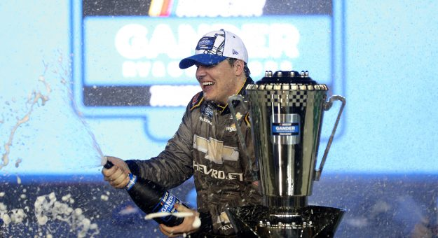AVONDALE, ARIZONA - NOVEMBER 06: Sheldon Creed, driver of the #2 Chevy Accessories/Trench Shoring Chevrolet, celebrates in victory lane after winning the NASCAR Gander RV & Outdoors Truck Series Lucas Oil 150  and the NASCAR Gander RV & Outdoors Truck Series Championship at Phoenix Raceway on November 06, 2020 in Avondale, Arizona. (Photo by Chris Graythen/Getty Images)   Getty Images