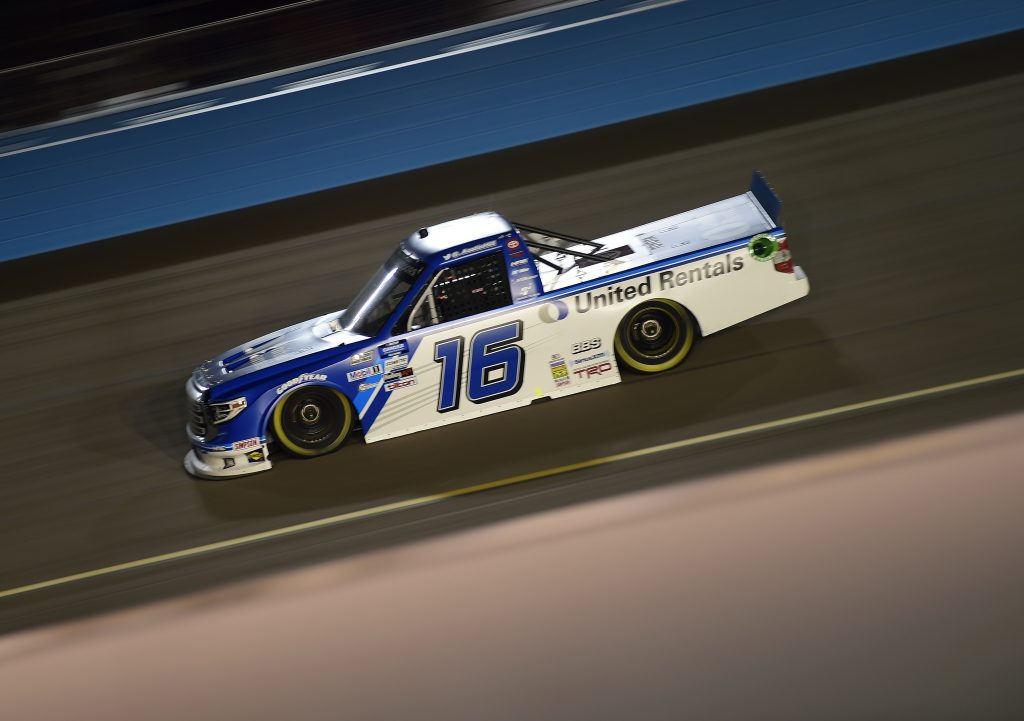 AVONDALE, ARIZONA - NOVEMBER 06: Austin Hill, driver of the #16 United Rentals Toyota, drives during the NASCAR Gander RV & Outdoors Truck Series Lucas Oil 150 at Phoenix Raceway on November 06, 2020 in Avondale, Arizona. (Photo by Jared C. Tilton/Getty Images) | Getty Images