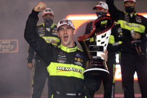 AVONDALE, ARIZONA - NOVEMBER 07: Austin Cindric, driver of the #22 Menards/Richmond Ford, celebrates in victory lane after winning the NASCAR Xfinity Series Desert Diamond Casino West Valley 200 and the 2020 NASCAR Xfinity Series Championship at Phoenix Raceway on November 07, 2020 in Avondale, Arizona. (Photo by Chris Graythen/Getty Images) | Getty Images