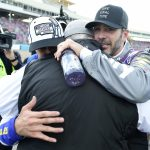 AVONDALE, ARIZONA - NOVEMBER 08: Chase Elliott, driver of the #9 NAPA Auto Parts Chevrolet, is congratulated by Jimmie Johnson, driver of the #48 Ally Chevrolet, and  team owner and NASCAR Hall of Famer Rick Hendrick after winning the NASCAR Cup Series Season Finale 500 and the 2020 NASCAR Cup Series Championship at Phoenix Raceway on November 08, 2020 in Avondale, Arizona. (Photo by Jared C. Tilton/Getty Images) | Getty Images