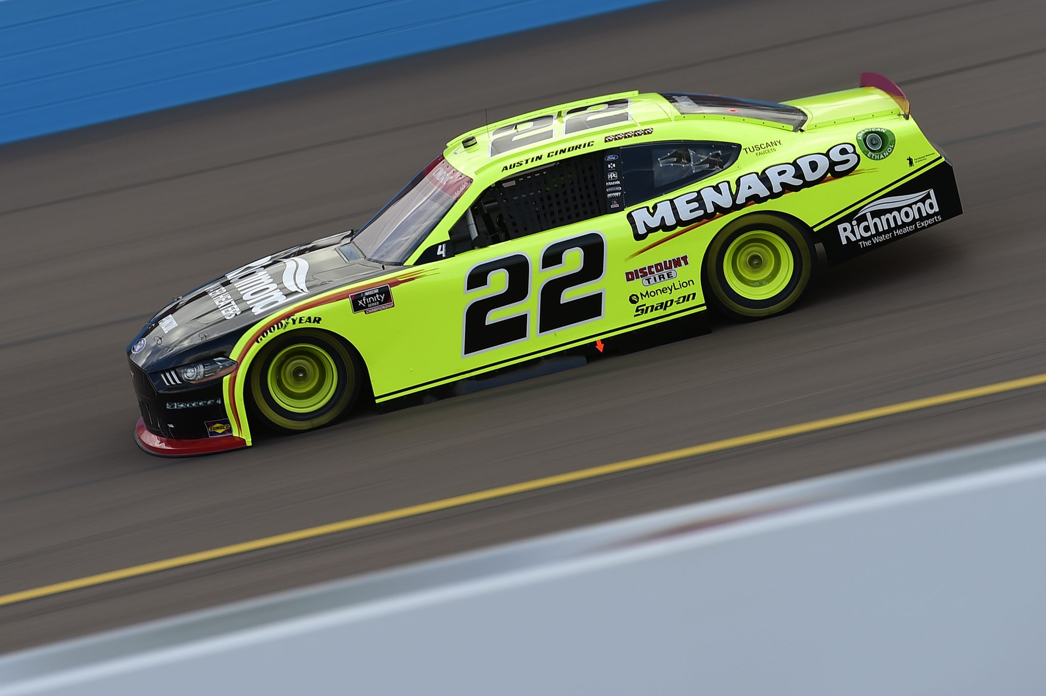 AVONDALE, ARIZONA - NOVEMBER 07: Austin Cindric, driver of the #22 Menards/Richmond Ford, drives during the NASCAR Xfinity Series Desert Diamond Casino West Valley 200 at Phoenix Raceway on November 07, 2020 in Avondale, Arizona. (Photo by Jared C. Tilton/Getty Images) | Getty Images