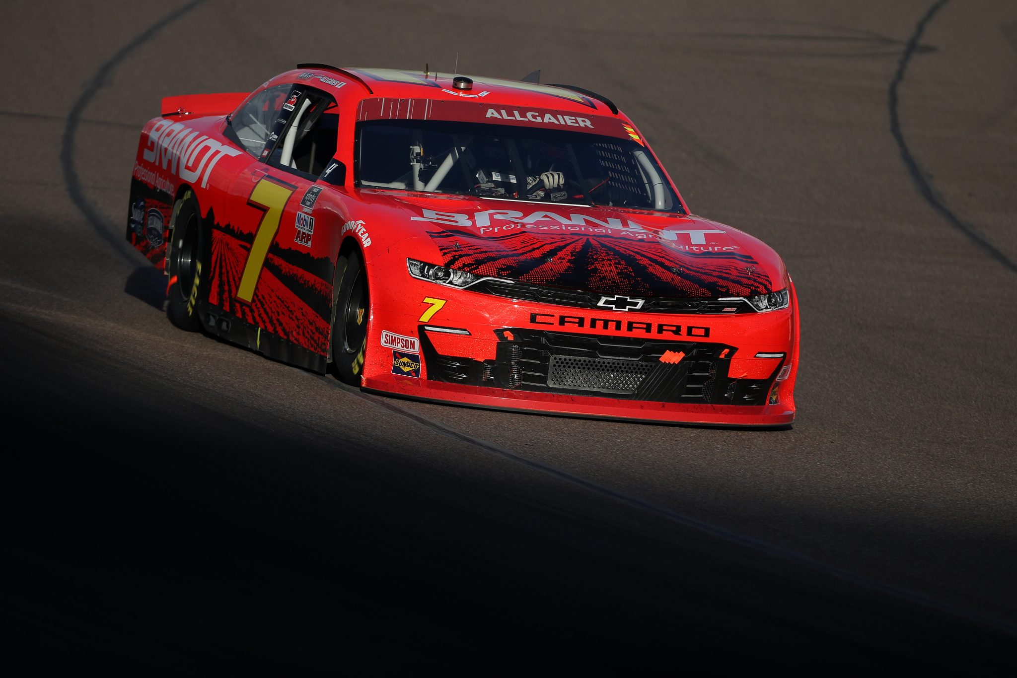 AVONDALE, ARIZONA - NOVEMBER 07: Justin Allgaier, driver of the #7 BRANDT Chevrolet, drives during the NASCAR Xfinity Series Desert Diamond Casino West Valley 200 at Phoenix Raceway on November 07, 2020 in Avondale, Arizona. (Photo by Christian Petersen/Getty Images) | Getty Images
