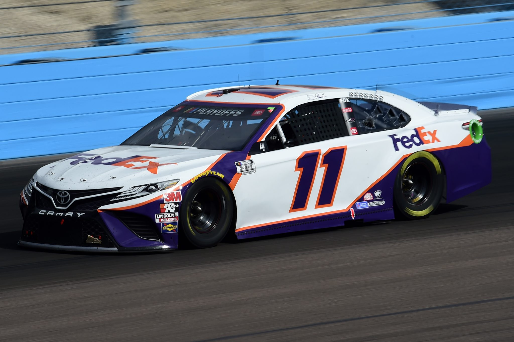 AVONDALE, ARIZONA - NOVEMBER 08: Denny Hamlin, driver of the #11 FedEx Express Toyota, drives during the NASCAR Cup Series Season Finale 500 at Phoenix Raceway on November 08, 2020 in Avondale, Arizona. (Photo by Jared C. Tilton/Getty Images) | Getty Images