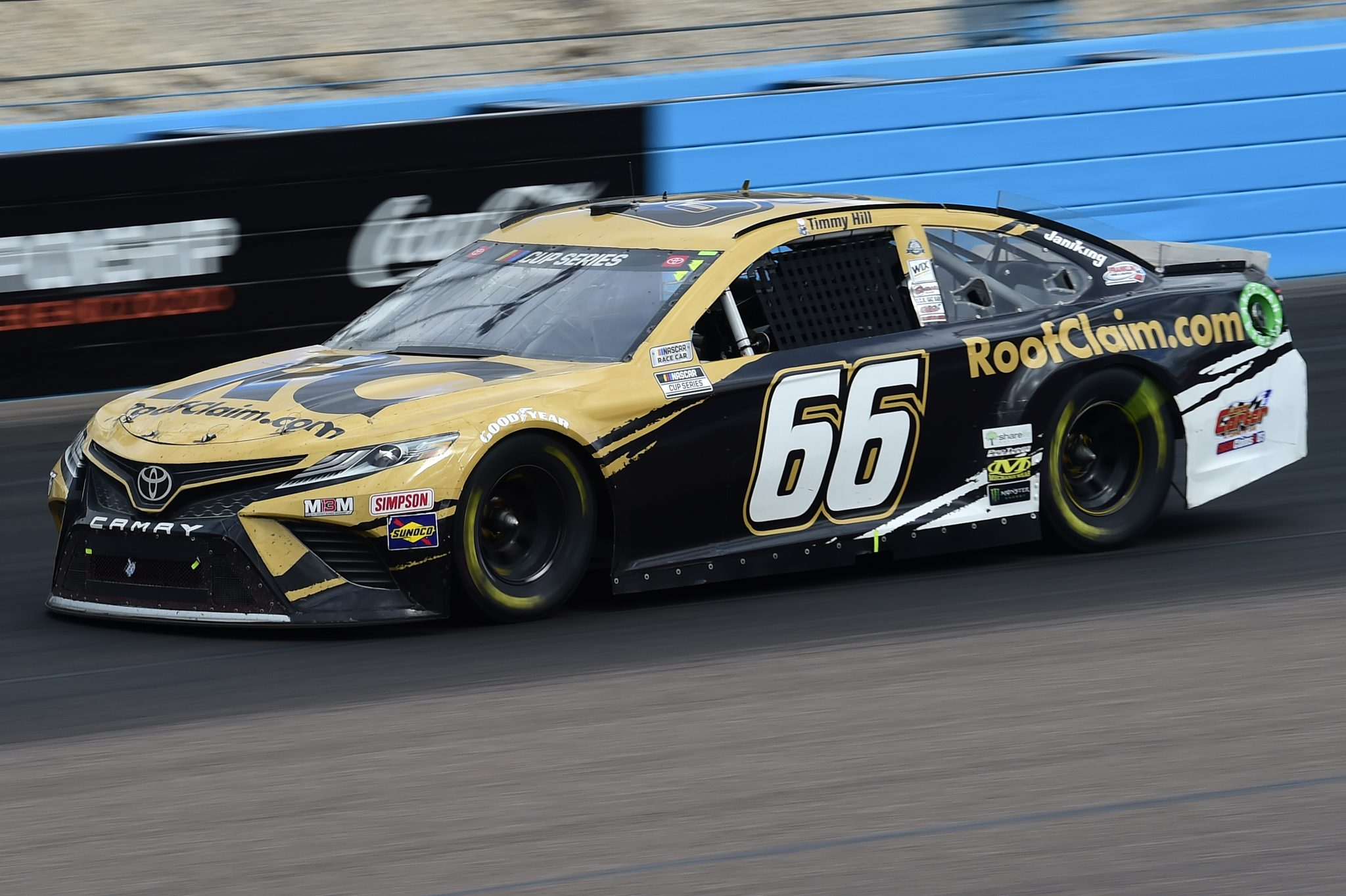 AVONDALE, ARIZONA - NOVEMBER 08: Timmy Hill, driver of the #66 RoofClaim.com Toyota, drives during the NASCAR Cup Series Season Finale 500 at Phoenix Raceway on November 08, 2020 in Avondale, Arizona. (Photo by Jared C. Tilton/Getty Images) | Getty Images