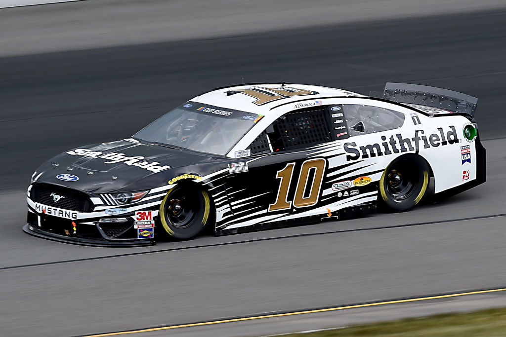 LONG POND, PENNSYLVANIA - JUNE 27: Aric Almirola, driver of the #10 Smithfield Vote For Bacon Ford, drives during the NASCAR Cup Series Pocono Organics 325 in partnership with Rodale Institute at Pocono Raceway on June 27, 2020 in Long Pond, Pennsylvania. (Photo by Jared C. Tilton/Getty Images) | Getty Images