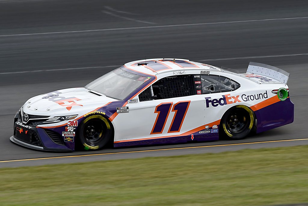 LONG POND, PENNSYLVANIA - JUNE 27: Denny Hamlin, driver of the #11 FedEx Ground Toyota, drives during the NASCAR Cup Series Pocono Organics 325 in partnership with Rodale Institute at Pocono Raceway on June 27, 2020 in Long Pond, Pennsylvania. (Photo by Jared C. Tilton/Getty Images) | Getty Images