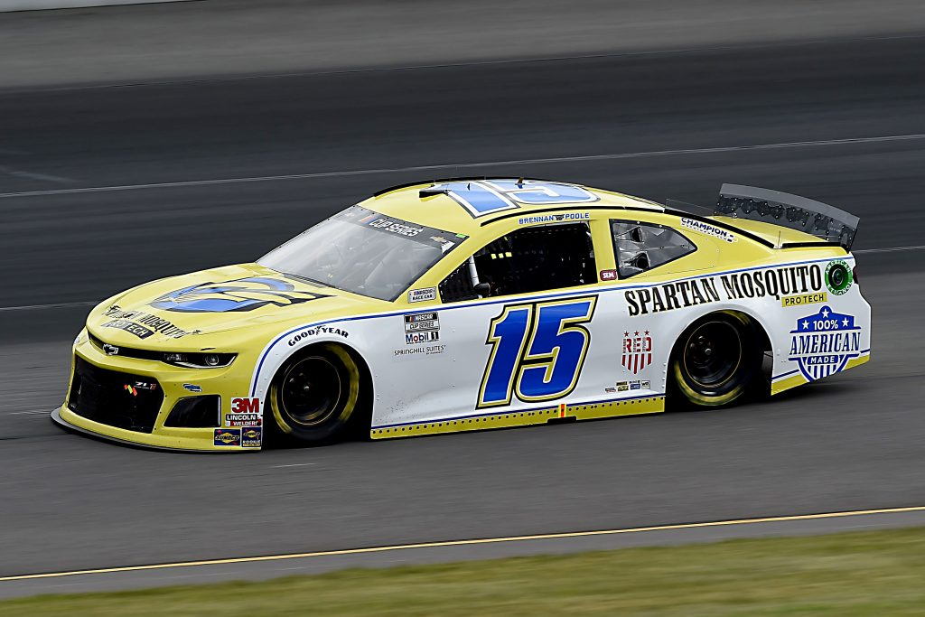 LONG POND, PENNSYLVANIA - JUNE 27: Brennan Poole, driver of the #15 Chevrolet, drives during the NASCAR Cup Series Pocono Organics 325 in partnership with Rodale Institute at Pocono Raceway on June 27, 2020 in Long Pond, Pennsylvania. (Photo by Jared C. Tilton/Getty Images) | Getty Images