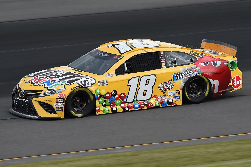 LONG POND, PENNSYLVANIA - JUNE 27: Kyle Busch, driver of the #18 M&M's Mini's Toyota, drives during the NASCAR Cup Series Pocono Organics 325 in partnership with Rodale Institute at Pocono Raceway on June 27, 2020 in Long Pond, Pennsylvania. (Photo by Jared C. Tilton/Getty Images) | Getty Images