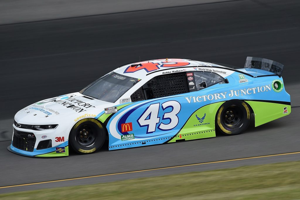 LONG POND, PENNSYLVANIA - JUNE 27: Bubba Wallace, driver of the #43 Victory Junction Chevrolet, drives during the NASCAR Cup Series Pocono Organics 325 in partnership with Rodale Institute at Pocono Raceway on June 27, 2020 in Long Pond, Pennsylvania. (Photo by Jared C. Tilton/Getty Images) | Getty Images