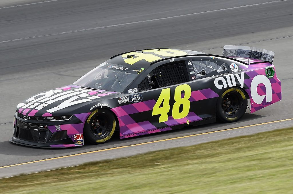 LONG POND, PENNSYLVANIA - JUNE 27: Jimmie Johnson, driver of the #48 Ally Chevrolet, drives during the NASCAR Cup Series Pocono Organics 325 in partnership with Rodale Institute at Pocono Raceway on June 27, 2020 in Long Pond, Pennsylvania. (Photo by Jared C. Tilton/Getty Images) | Getty Images