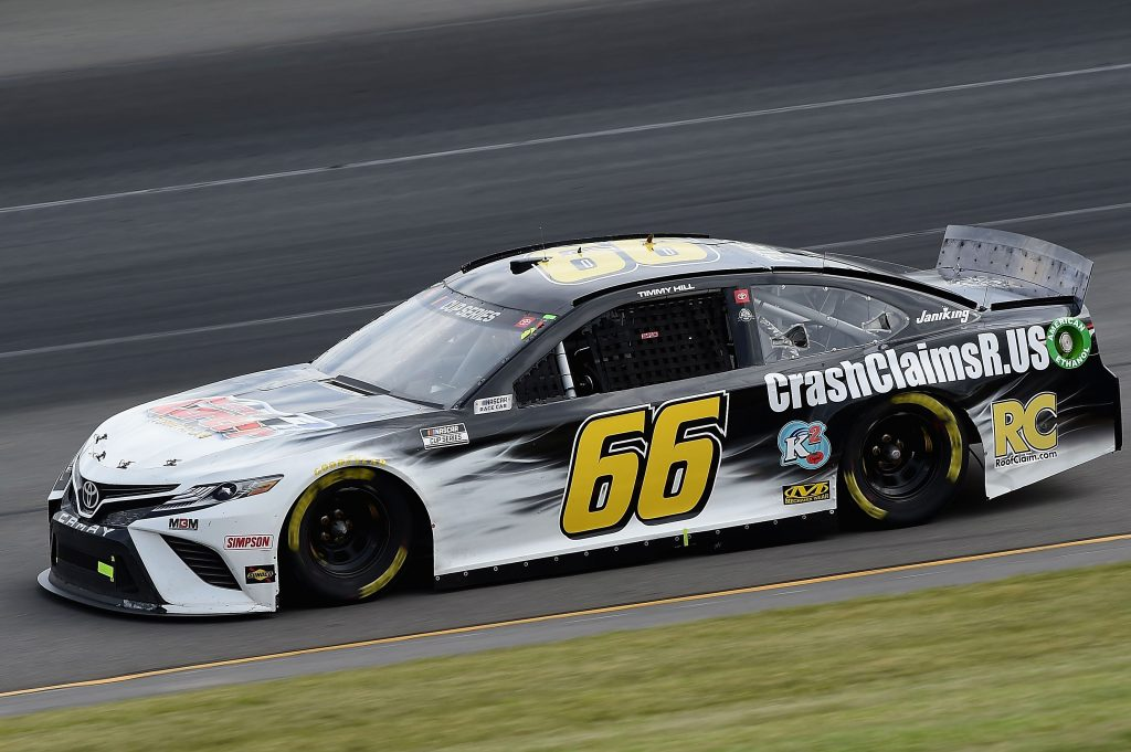 LONG POND, PENNSYLVANIA - JUNE 27: Timmy Hill, driver of the #66 Toyota, drives during the NASCAR Cup Series Pocono Organics 325 in partnership with Rodale Institute at Pocono Raceway on June 27, 2020 in Long Pond, Pennsylvania. (Photo by Jared C. Tilton/Getty Images) | Getty Images