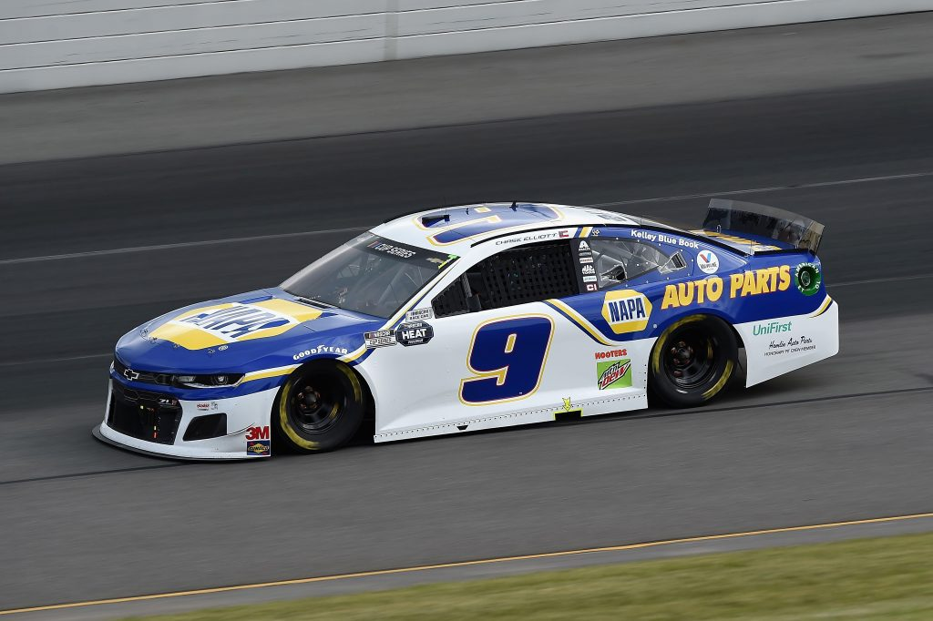 LONG POND, PENNSYLVANIA - JUNE 27: Chase Elliott, driver of the #9 NAPA Auto Parts Chevrolet, drives during the NASCAR Cup Series Pocono Organics 325 in partnership with Rodale Institute at Pocono Raceway on June 27, 2020 in Long Pond, Pennsylvania. (Photo by Jared C. Tilton/Getty Images) | Getty Images