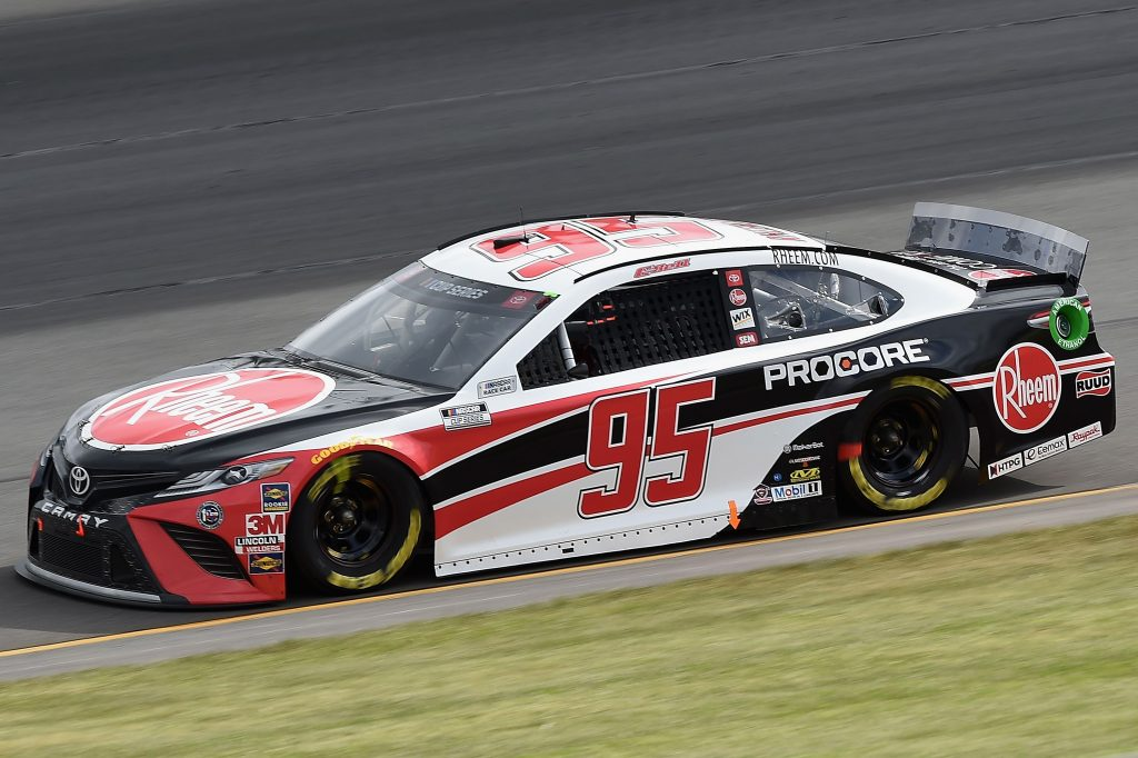 LONG POND, PENNSYLVANIA - JUNE 27: Christopher Bell, driver of the #95 Rheem Toyota, drives during the NASCAR Cup Series Pocono Organics 325 in partnership with Rodale Institute at Pocono Raceway on June 27, 2020 in Long Pond, Pennsylvania. (Photo by Jared C. Tilton/Getty Images) | Getty Images