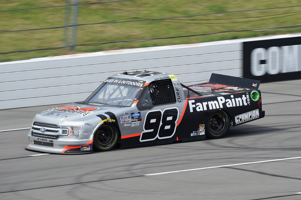 LONG POND, PENNSYLVANIA - JUNE 28: Grant Enfinger, driver of the #98 Ford, drives during the NASCAR Gander RV & Outdoors Truck Series Pocono Organics 150 to benefit Farm Aid at Pocono Raceway on June 28, 2020 in Long Pond, Pennsylvania. (Photo by Jared C. Tilton/Getty Images) | Getty Images