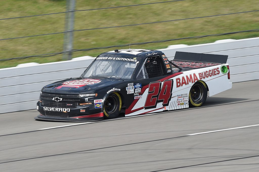 LONG POND, PENNSYLVANIA - JUNE 28: Chase Purdy, driver of the #24 BAMABUGGIES.com Chevrolet, drives during the NASCAR Gander RV & Outdoors Truck Series Pocono Organics 150 to benefit Farm Aid at Pocono Raceway on June 28, 2020 in Long Pond, Pennsylvania. (Photo by Jared C. Tilton/Getty Images) | Getty Images