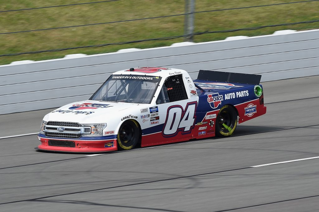 LONG POND, PENNSYLVANIA - JUNE 28: Cory Roper, driver of the #04 CarQuest Ford, drives during the NASCAR Gander RV & Outdoors Truck Series Pocono Organics 150 to benefit Farm Aid at Pocono Raceway on June 28, 2020 in Long Pond, Pennsylvania. (Photo by Jared C. Tilton/Getty Images) | Getty Images
