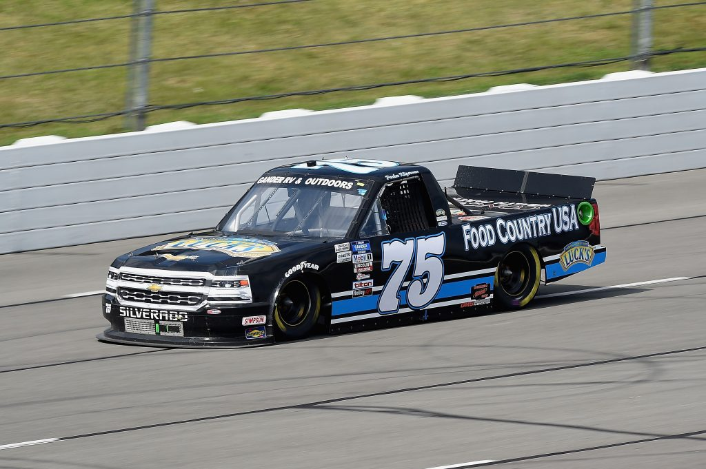 LONG POND, PENNSYLVANIA - JUNE 28: Parker Kligerman, driver of the #75 Food Country USA/Lucks Beans Chevrolet, drives during the NASCAR Gander RV & Outdoors Truck Series Pocono Organics 150 to benefit Farm Aid at Pocono Raceway on June 28, 2020 in Long Pond, Pennsylvania. (Photo by Jared C. Tilton/Getty Images) | Getty Images