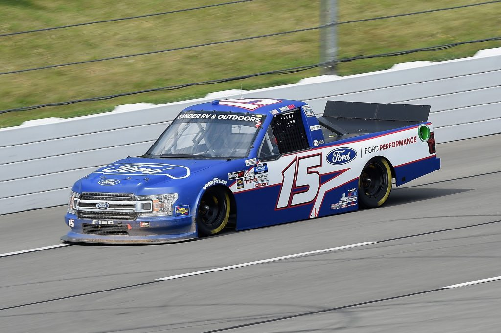 LONG POND, PENNSYLVANIA - JUNE 28: Tanner Gray, driver of the #15 Ford Performance Ford, drives during the NASCAR Gander RV & Outdoors Truck Series Pocono Organics 150 to benefit Farm Aid at Pocono Raceway on June 28, 2020 in Long Pond, Pennsylvania. (Photo by Jared C. Tilton/Getty Images) | Getty Images