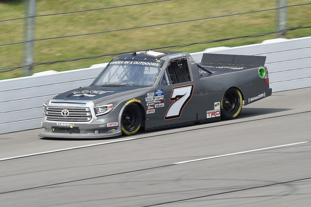 LONG POND, PENNSYLVANIA - JUNE 28: Korbin Forrister, driver of the #7 Pruitt Healthcare Toyota, drives during the NASCAR Gander RV & Outdoors Truck Series Pocono Organics 150 to benefit Farm Aid at Pocono Raceway on June 28, 2020 in Long Pond, Pennsylvania. (Photo by Jared C. Tilton/Getty Images) | Getty Images