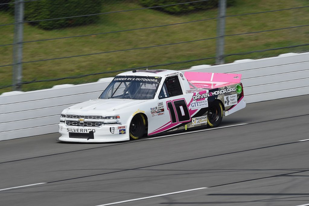 LONG POND, PENNSYLVANIA - JUNE 28: Jennifer Jo Cobb, driver of the #10 Driven2Honor.org Chevrolet, drives during the NASCAR Gander RV & Outdoors Truck Series Pocono Organics 150 to benefit Farm Aid at Pocono Raceway on June 28, 2020 in Long Pond, Pennsylvania. (Photo by Jared C. Tilton/Getty Images) | Getty Images