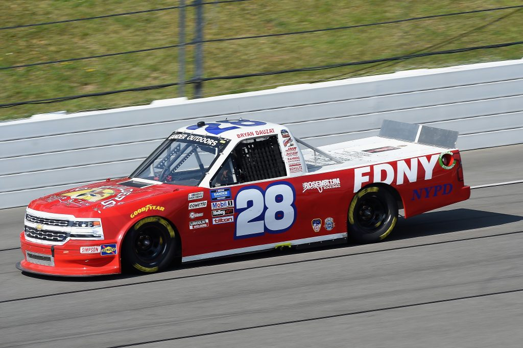 LONG POND, PENNSYLVANIA - JUNE 28: Bryan Dauzat, driver of the #28 FDNY/American Genomies Chevrolet, drives during the NASCAR Gander RV & Outdoors Truck Series Pocono Organics 150 to benefit Farm Aid at Pocono Raceway on June 28, 2020 in Long Pond, Pennsylvania. (Photo by Jared C. Tilton/Getty Images) | Getty Images
